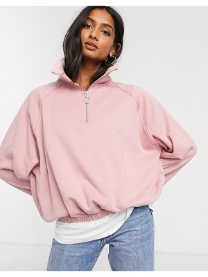 Micha Lounge high neck fleece with half zip-pink