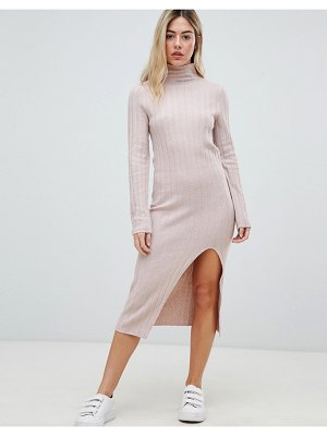 Micha Lounge high neck knitted dress in soft rib