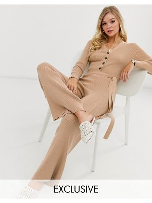 Micha Lounge luxe belted button through knitted jumpsuit-beige