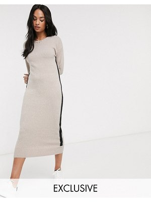 Micha Lounge midaxi dress with contrast stripe-brown