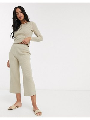 Micha Lounge relaxed wide leg culottes in rib knit two-piece-brown