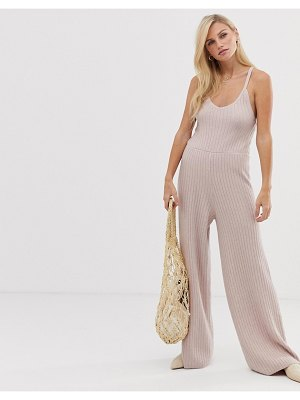 Micha Lounge strappy jumpsuit in rib knit-pink