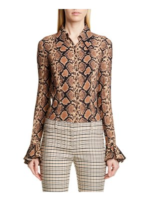 Michael Kors Collection michael kors bell sleeve crushed georgette shirt