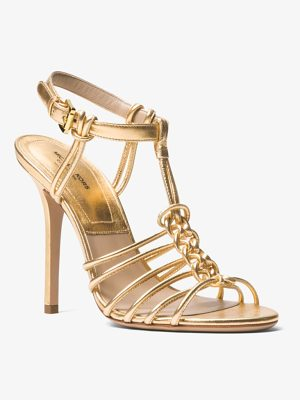MICHAEL KORS COLLECTION Alek Metallic Leather Sandal
