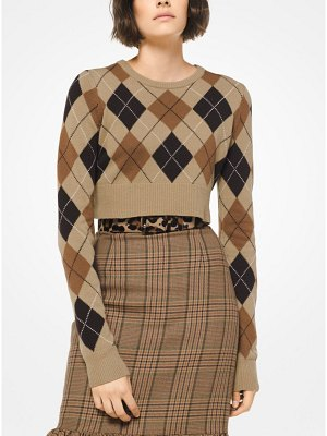 Michael Kors Collection Argyle Cashmere Cropped Pullover