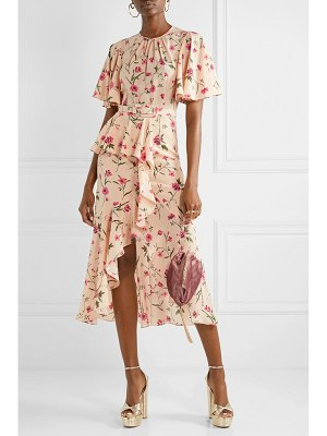 Michael Kors Collection belted ruffled floral-print silk crepe de chine midi dress