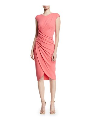 Michael Kors Collection Cap-Sleeve Ruched Stretch Matte Jersey Cocktail Dress