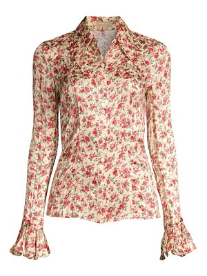 Michael Kors Collection crushed silk floral bell-sleeve shirt