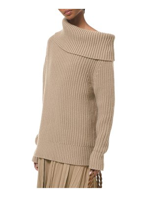 Michael Kors Collection cuff neck shaker knit pullover sweater