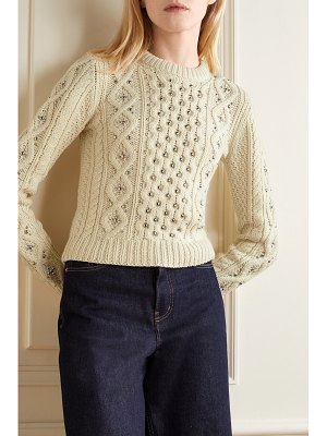 Michael Kors Collection embellished cable-knit cashmere sweater