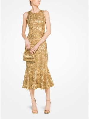Michael Kors Collection Embroidered Rose Medallion Silk Jacquard Trumpet Dress