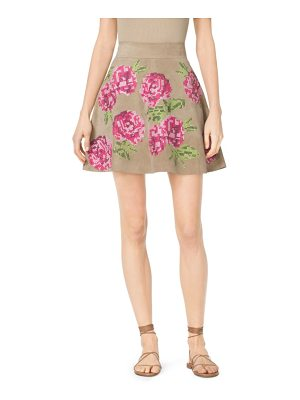 Michael Kors Collection Floral-Embroidered Suede Skirt