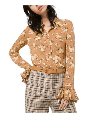 Michael Kors Collection Floral-Print Crushed Bell-Sleeve Shirt