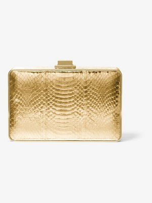 Michael Kors Collection Metallic Snakeskin Box Clutch