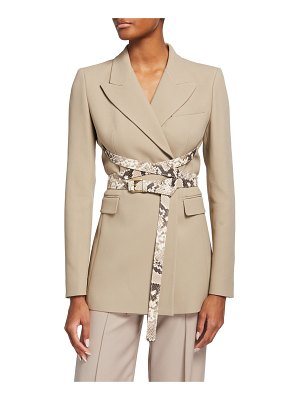 Michael Kors Collection Python Leather Strapped Blazer