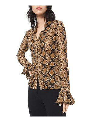 Michael Kors Collection Python-Print Crushed Bell-Sleeve Shirt