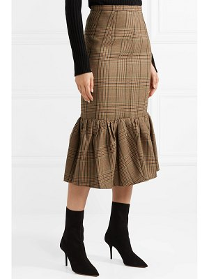 Michael Kors Collection rumba fluted plaid wool midi skirt