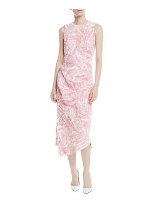 Michael Kors Collection Sleeveless Beaded Palm-Print Linen Dress