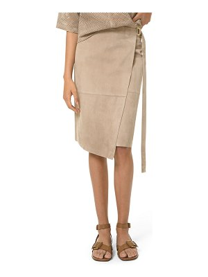 Michael Kors Collection Suede Belted Asymmetric Wrap Skirt