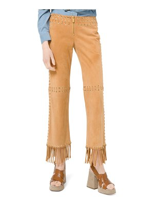 Michael Kors Collection Suede Whipstitch Fringe Pants