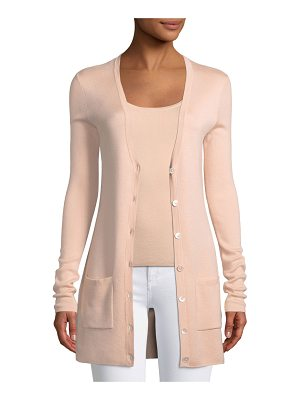 Michael Kors Collection V-Neck Button-Front Tropical Wool/Cashmere Cardigan