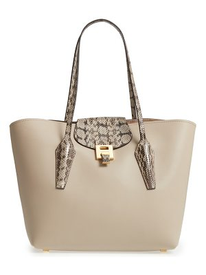 MICHAEL KORS Large Bancroft Leather Tote With Genuine Snakeskin Trim
