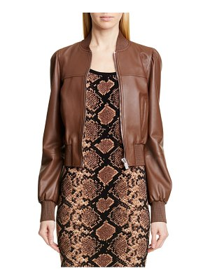 Michael Kors michael kors puff sleeve crop leather jacket