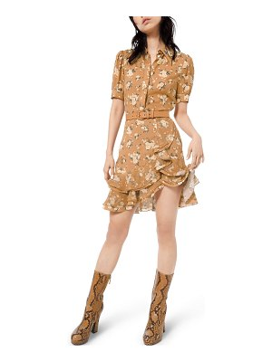 Michael Kors Collection Short-Sleeve Ruffled Floral-Silk Shirtdress w/ Belt