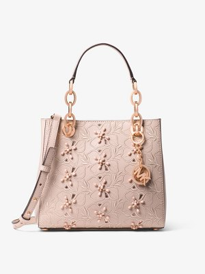 MICHAEL Michael Kors Cynthia Small Floral Embroidered Leather Satchel