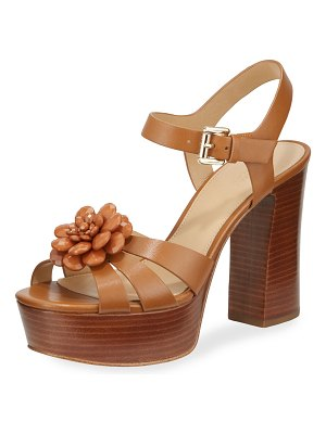 MICHAEL Michael Kors Dalia Leather Flower Platform Sandals