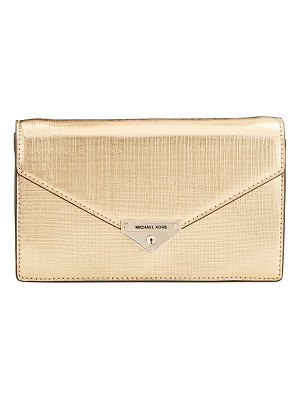 MICHAEL Michael Kors Grace Metallic Leather Envelope Clutch Bag