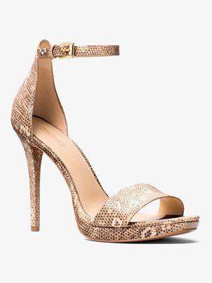 MICHAEL Michael Kors Hutton Lizard-Embossed Leather Sandal