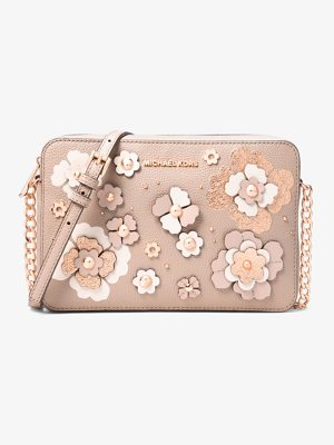 MICHAEL MICHAEL KORS Jet Set Floral Embellished Leather Crossbody
