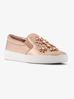 MICHAEL MICHAEL KORS Keaton Embellished Metallic Leather Slip-On Sneaker