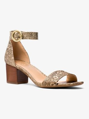 MICHAEL Michael Kors Lena Lizard-Embossed Leather Sandal