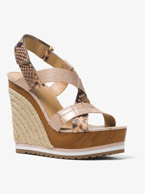 MICHAEL MICHAEL KORS Mackay Embossed Leather Wedge