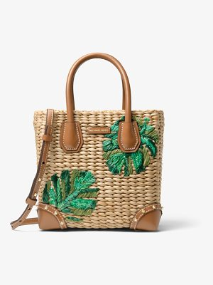 MICHAEL Michael Kors Malibu Palm Embroidered Woven Straw Crossbody