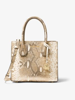 MICHAEL Michael Kors Mercer Metallic Snake-Embossed Leather Crossbody