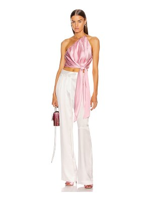 Michelle Mason one shoulder pleat top with tie