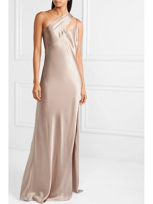 Michelle Mason one-shoulder silk-charmeuse gown