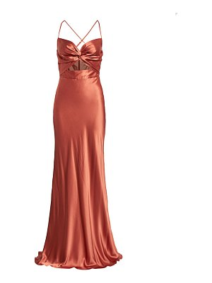 Michelle Mason twist sweetheart silk gown