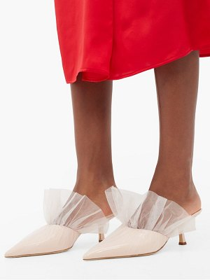 Midnight 00 antoinette point-toe tulle-wrapped leather mules