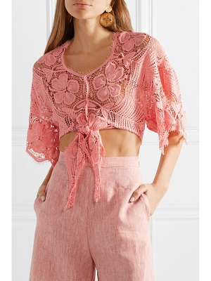Miguelina alma tie-front crocheted cotton-lace top