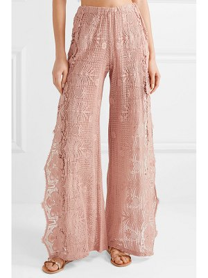 Miguelina amelie scalloped cotton guipure lace pants