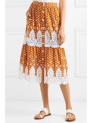 Miguelina carolina crocheted polka-dot cotton midi skirt