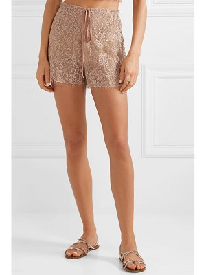 Miguelina chica metallic chantilly lace shorts