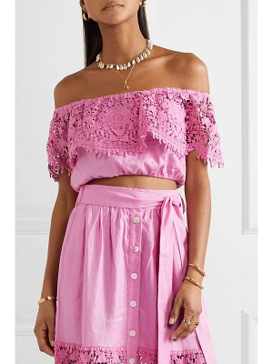 Miguelina dakota cropped off-the-shoulder guipure lace-trimmed linen top