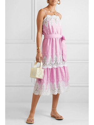 Miguelina esme belted crochet-trimmed linen midi dress