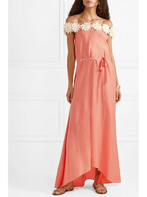 Miguelina felicia off-the-shoulder guipure lace-trimmed cotton and silk-blend satin maxi dress