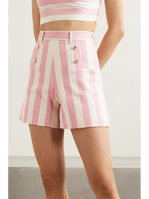 Miguelina giada button-embellished striped cotton-twill shorts